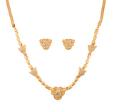Touchstone Gold Plated Pretty & Modern Austrian Diamond Necklace Set- PWNSL353-01A--Y