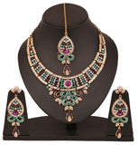 Touchstone Antique Gold Plated Mesmerizing Necklace Set- PWNSL354-01AMWG
