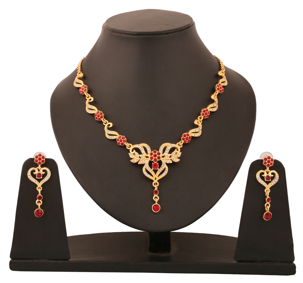 Touchstone Gold Plated Floral Austrian Diamond Necklace Set- PWNSL355-01AR-Y
