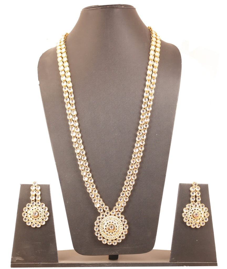 Padmavati Fame Kundan Look Long Designer Wedding Necklace In Gold Tone-PWNSL370-01K--Y