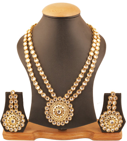 Bollywood Favorite Kundan Polki Look Ranihar Set In Antique Gold Tone-PWNSL370-02K--Y