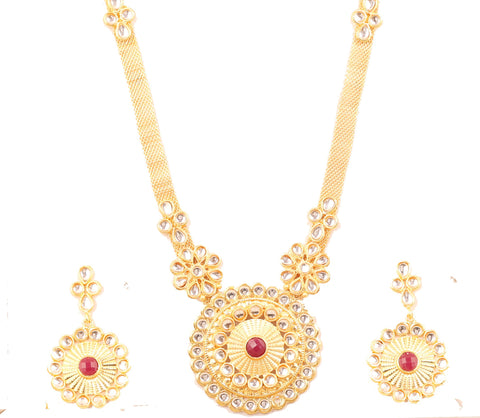 Mughal Kundan Polki Look Red Faux Ruby Long Necklace Set In Gold Tone-PWNSL371-01KR-Y
