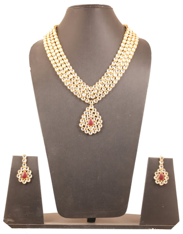 Kundan Look Anuksha Sharma Fame Red Faux Ruby Necklace Set In Gold Tone-PWNSL372-01KR-Y