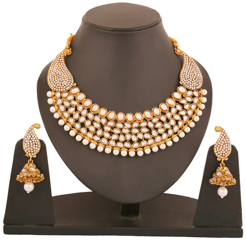 Touchstone Antique Gold Plated Rich Traditional Indo-Western Necklace Set- PWNSL381-02AP-G