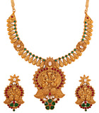 Touchstone Antique Gold Plated Designer Necklace Set- PWNSL383-02AREG
