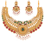 Touchstone Antique Gold Plated Rich & Ethnic Bridal Necklace Set- PWNSL390-01X--G