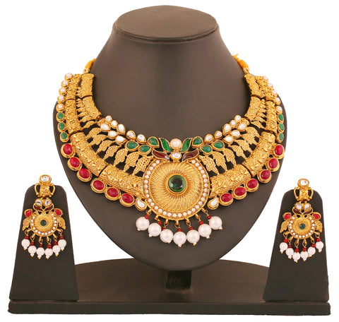 Touchstone Antique Gold Plated Rich & Ethnic Bridal Necklace Set