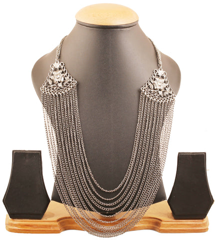 Fine Tribal Bohemian Chic Charming Chain Necklace Set in Silver Tone-PWNSL402-01---R