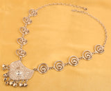 Finely Embossed Spiral Tribal Bohemian Chic Necklace Set In Silver Tone-PWNSL404-01---R