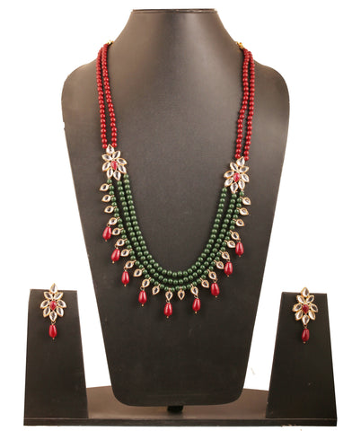 Kundan Look Faux Ruby Red Green Beads Necklace Set In Antique Gold Tone-PWNSL406-01KR-G