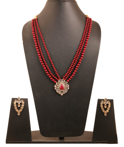Contemporary Kundan Look Faux Ruby Red Beads Set In Antique Gold Tone-PWNSL408-01KR-G