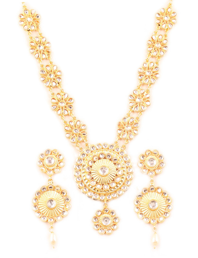 Padmavati Fame Kundan Look Floral Wedding Necklace Set In Gold Tone-PWNSL409-01K--Y