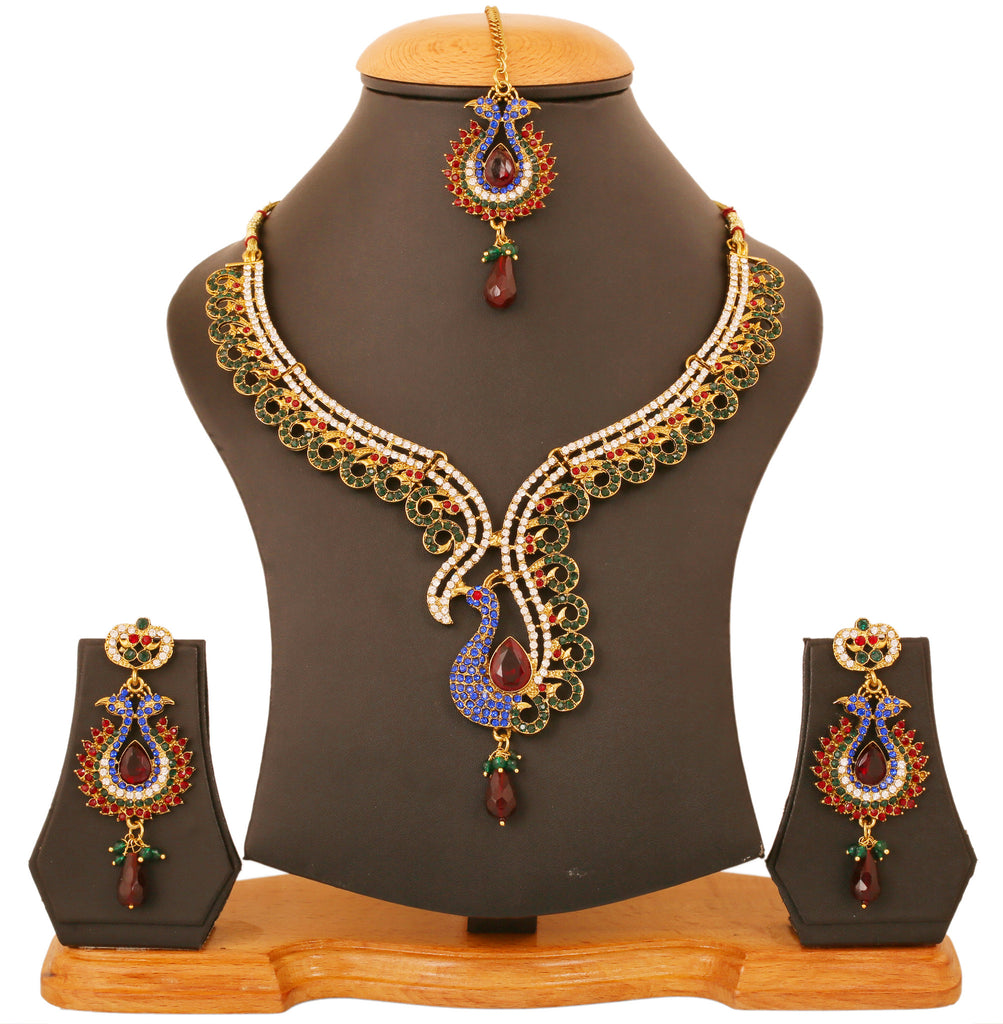 Touchstone Multicolour Peacock Necklace Set- PWNSL411-01X--G