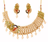 Touchstone Antique Gold Plated Peacock Necklace Set- PWNSL414-01AK-G
