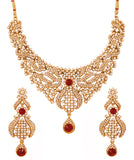 Touchstone Antique Gold Plated Mesmerizing Necklace Set- PWNSL418-01AR-G