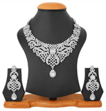 Touchstone Rhodium Plated Exclusive Necklace Set- PWNSL418-02A--W