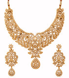 Touchstone Antique Gold Plated Semi Bridal Necklace Set- PWNSL421-01A--G