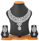 Touchstone Rhodium Plated Contemporary Semi Bridal Necklace Set- PWNSL421-02A--W