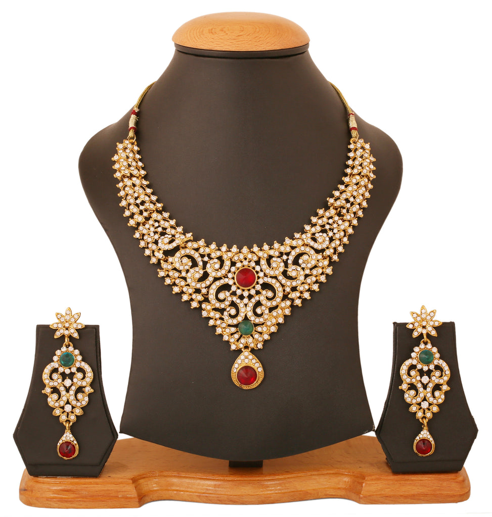 set with plated stone necklace work golden blue designer zoom tika pretty