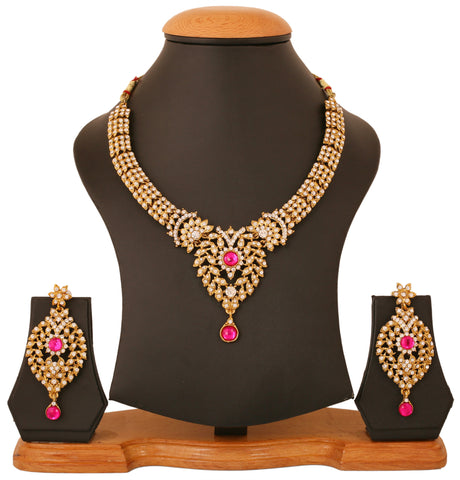 Touchstone Antique Gold Plated Ethnic Necklace Set- PWNSL423-01AZ-G