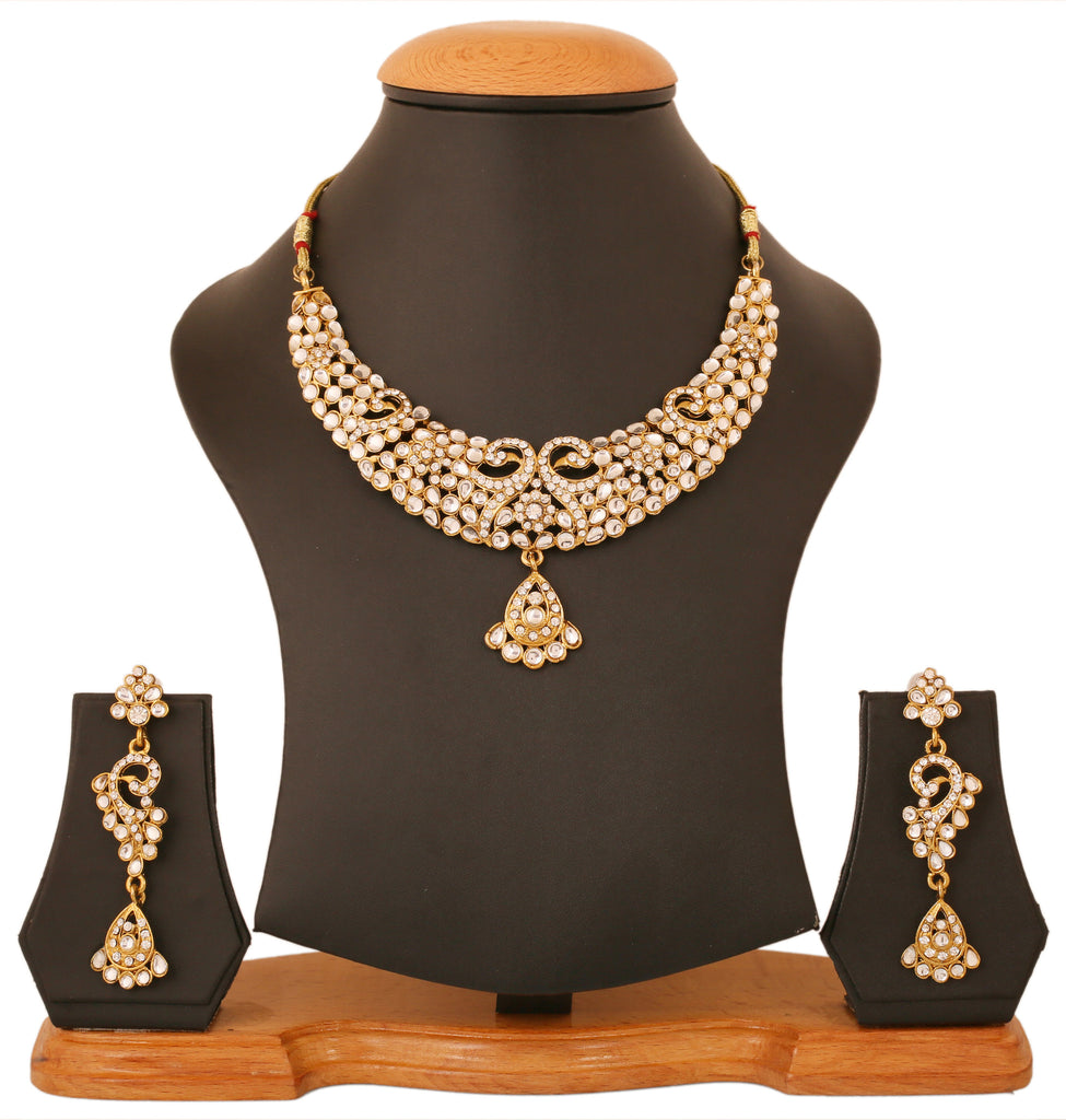 Touchstone Antique Gold Plated Kundan Look Necklace Set- PWNSL425-01AK-G