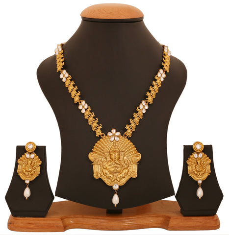 Touchstone Antique Gold Plated God Ganesha Necklace Set- PWNSL426-01A--G