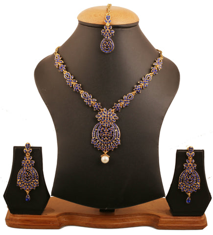 Floral Inspired Faux Blue Sapphire Necklace Set In Antique Gold Tone-PWNSL428-03W--G