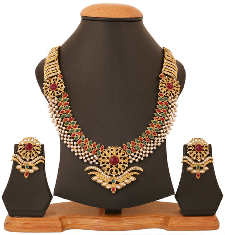 Touchstone Antique Gold Plated Stunning Haar Style Ethnic Necklace Set- PWNSL429-01X--G