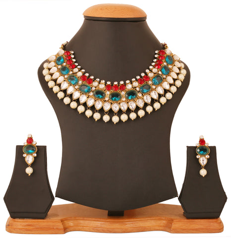 Touchstone Superbly Designer Traditional Necklace set- PWNSL431-01AREG