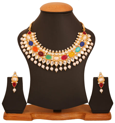 Touchstone golden plated Indian bollywood Kundan look nauratan jewelry necklace set for women