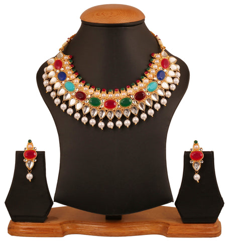 Touchstone gold tone Indian bollywood old and traditional Kundan look nav ratan necklace set for women