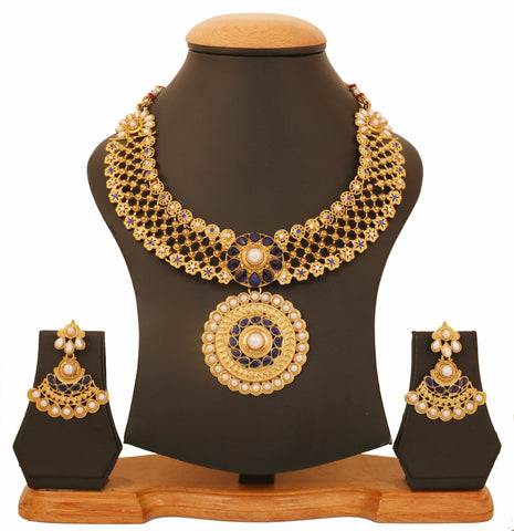 Touchstone Antique Gold Plated Southern look Pearl & Blue Necklace set- PWNSL432-02APWG