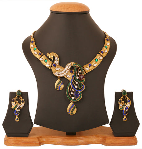 Touchstone Antique Gold Plated Peacock Necklace set- PWNSL434-01X--G