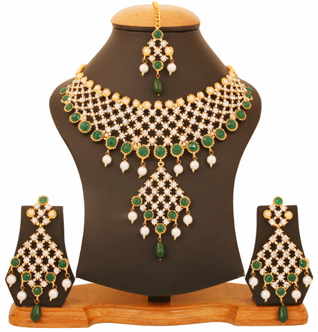 Touchstone Gold Plated Rich & Ethnic Bridal Necklace Set- PWNSL438-02AEPY
