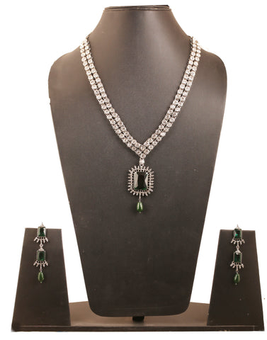 Modern White Crystals Rectangle Faux Emerald Necklace in Silver Tone-PWNSL441-01AE-W