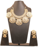 Padmavati Fame Kundan Wedding Jewelry Necklace In Antique Gold Tone-PWNSL443-01K--G