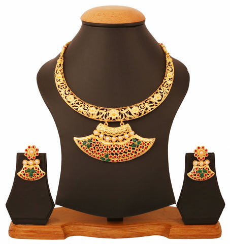 Touchstone Gold Plated Attractive Traditional Necklace Set- PWNSL448-01PREY