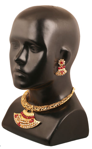 Touchstone gold tone Indian bollywood red faux ruby white  crystals bridal jewelry  necklace set for women PWNSL448-02AR-Y