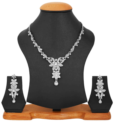 AD Look Floral Rhodium Plated Neckalce set by Touchstone