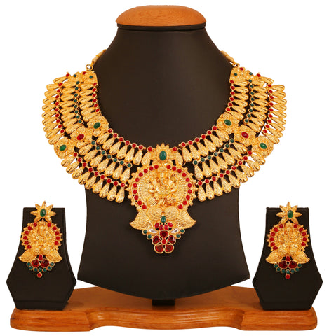Touchstone golden plated Indian bollywood temple enamel/polki work bridal jewerly necklace set for women