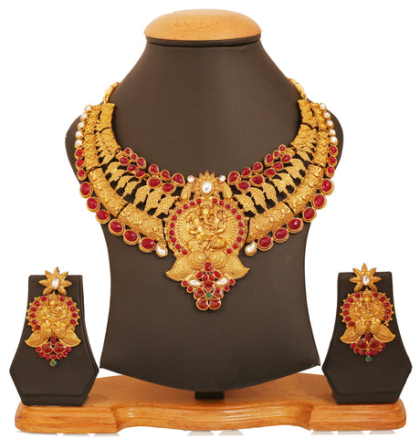 Touchstone golden plated Indian temple bollywood  faux rubies pearls grand jewelry necklace set for women