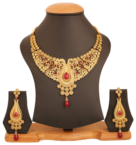 Touchstone golden plated Indian bollywood pretty hand stuck faux rubies jewelry necklace set for women