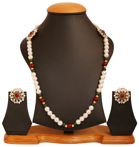 Touchstone golden plated Indian bollywood light wearing colorful jewelry necklace set for women