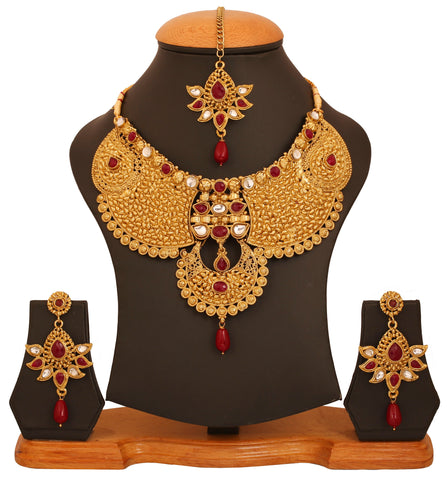 Touchstone golden plated Indian bollywood Kundan look jadau jewelry faux rubies necklace set for women
