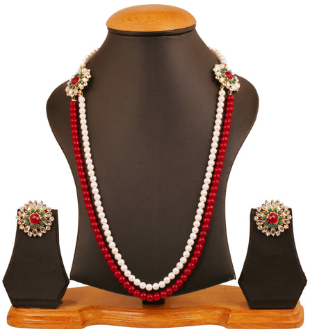 Touchstone gold tone Indian bollywood faux ruby emerald faux pearls jewelry necklace set for women