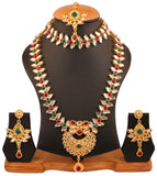 Tochstone Indian bollywood faux ruby, emerald Kundan look grand rani har and choker desiger jewelry sets, coupled with faux ruby and emerald in gold tone for women PWNSL459-01KREY