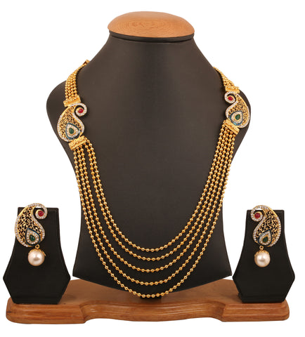 Touchstone Indian bollywood paisley inspired white Austrian crystals faux ruby meenakari  exclusive saree wear long designer jewelry necklace set, strung with beads in gold tone for women PWNSL462-01AREY
