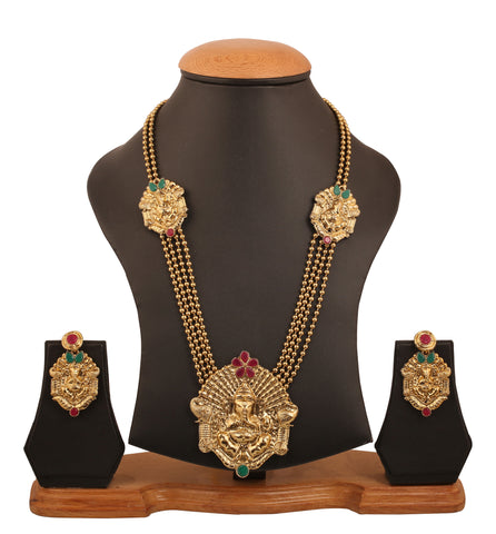 Touchstone Indian bollywood ethnic temple inspired long jewelry necklace set in antique gold tone for women PWNSL463-01RE-G