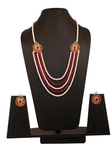 Touchstone bollywood saree exclusive jadau style faux ruby white Austrian crystals long designer jewelry necklace set in gold tone for women