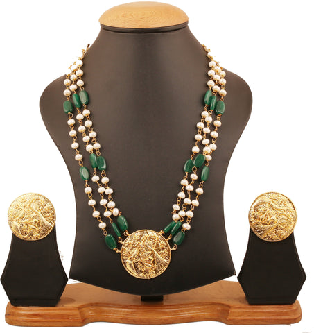 Touchstone Indian Bollywood traditional exclusive and grand fine craftsmanship triple line faux pearls and green onyx beads designer jewelry necklace for women in gold tone.